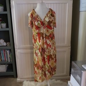 MLLE GABRIELLE  RED & BROWN FLORAL PRINT DRESS 24